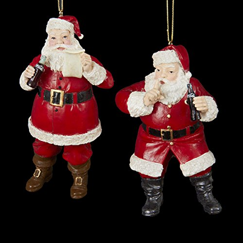 (Kurt Adler Coca-Cola Resin Santa Ornament Pair #CC2157)