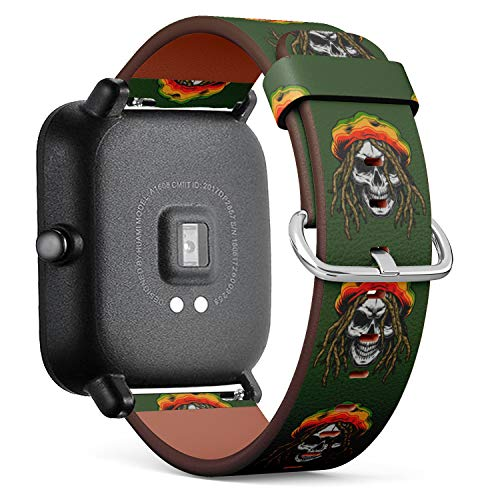 (S-Type Quick Release Leather Bracelet Watch Band Strap Replacement Wristband Compatible for Xiaomi Huami Amazfit Bip - Rasta Skull with Dreadlocks Smoking Marijuana Weed)