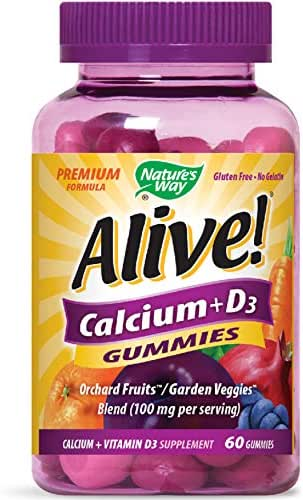 Nature's Way Alive! Premium Calcium + D3 Gummy + Orchard Fruits/Garden Veggies Blend, 60 Cherry & Strawberry Gummies