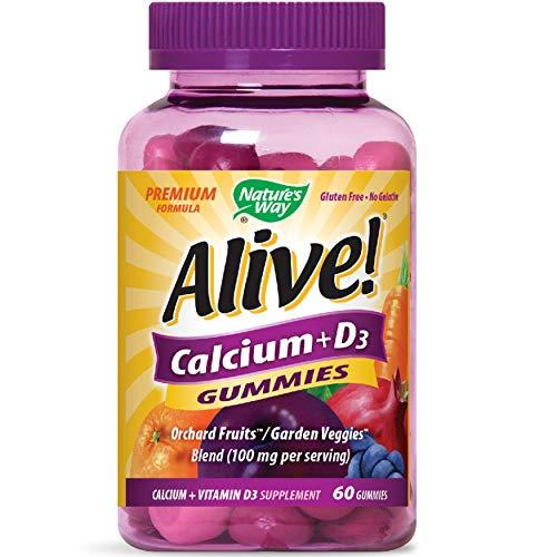 Natures Way Alive! Premium Calcium + D3 Gummy + Orchard Fruits/Garden Veggies Blend, 60 Cherry & Strawberry Gummies