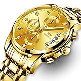 KASHIDUN Men's Watches Luxury Sports Casual Quartz Wristwatches Waterproof Chronograph Calendar Date Stainless Steel Band Black Color (A-Gold Diamonds)