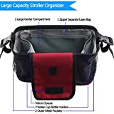 Baby Stroller Organizer, Betiteto Durable Attachable Stroller Bag with Large Storage Space, Multi Pockets, Zipper Phone Pocket Adjustable Straps, Universal Fit All Strollers (Red)