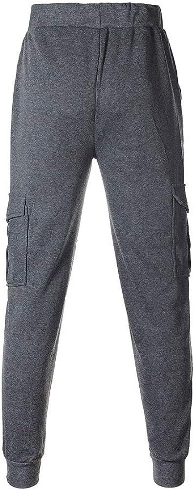 Cobcob Men s Elastic Pant,Male Fashion Trouser Drawstring Baggy Pockets Sweatpants Slim Fit Jogger Pants