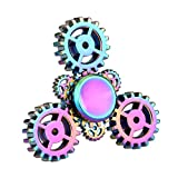 ZYooh New Gear Wheel Tri Fidget Spinner Toy Stress Reducer - Wheel Hand Spinner Metal Perfect For ADD, ADHD, Anxiety, and Autism Adult/kid to Kill Boring Time (RAINBOW)