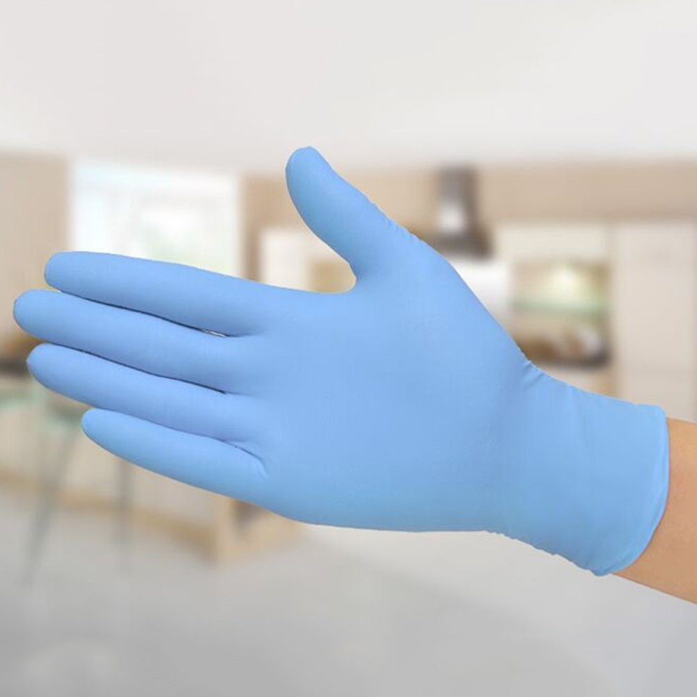 rycnet 5 Pairs Disposable Blue Latex Nitrile Gloves Powder Free Medical Dental Use Size Small New Years Gift Small