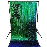 DUOBAO Sequin Backdrop 8Ft Green to Black Mermaid Sequin Backdrop Fabric 6FTx8FT Two Tone Sequin Curtains