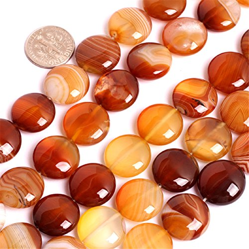 Botswana Stripe Agate Beads for Jewelry Making Natural Gemstone Semi Precious 16mm Coin 15