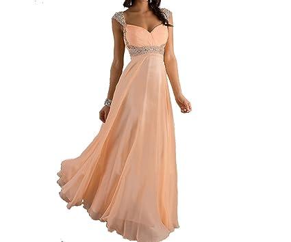 1a341a0de9 Peach Cap Sleeves Long Prom Dresses Graduation Party Dresses with Empire  Waist for Women (US