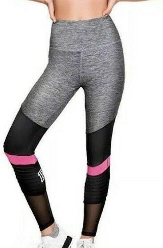 New Victorias Secret Pink Cozy High Waist Leggings Fitness Pants Black Sz Med