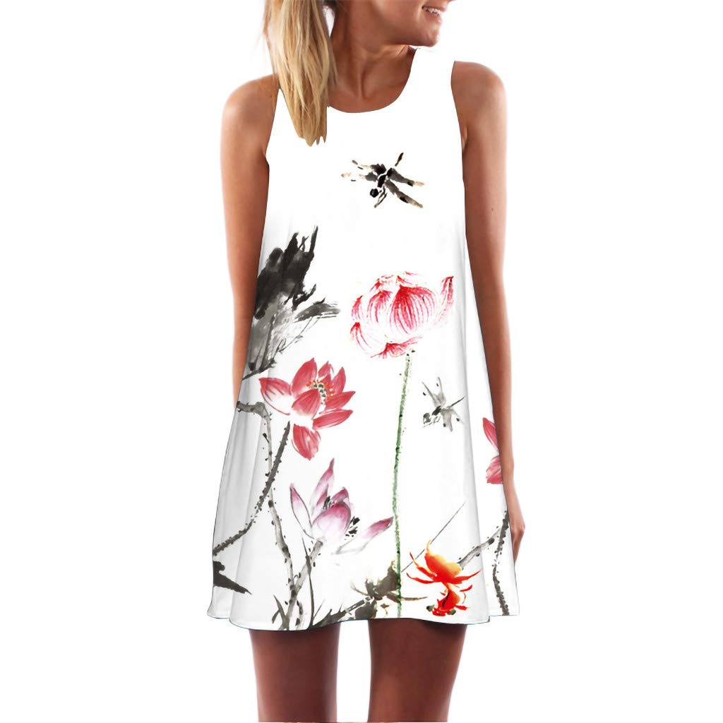 BB67 Women Vintage O-Neck Boho Summer Sleeveless Beach Printed Short Mini Dress White