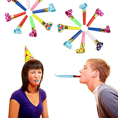 Koogel 100 Pcs Party Blower, Colorful Birthday Noisemakers Birthday Blow Horns Party Horns Party Whistles New Years Party Noisemakers Party Blowouts Whistles Party Blowouts Party Favors Noise Makers