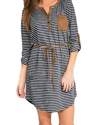 Belted Button Strap Dress - 5