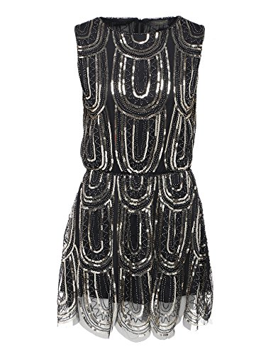 BABEYOND 20's Gatsby Vintage Beaded Sequin Cocktail Party Flapper Dress (Twenties Dress)