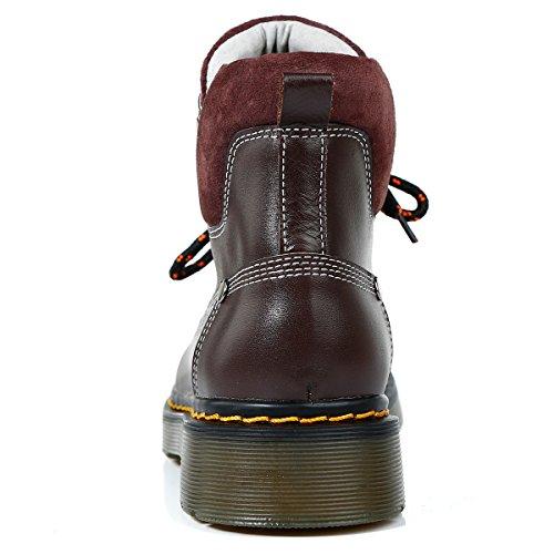 Marron Femmes Martin Bottes Classiques Roseg Bottines Derby Lacets Boots Cuir STccnzPq