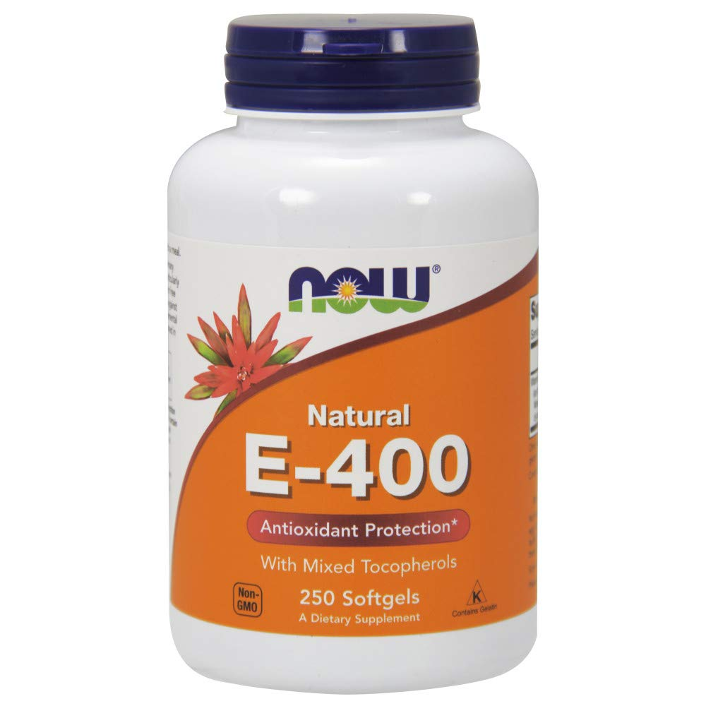 NOW  E-400 Vitamin E-400 IU MT Softgels with Mixed Tocopherols, 250 Softgels by Now Supplements