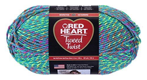 Nylon Tweed Coat - Red Heart Tweed Twist Yarn, Neon Turquoise