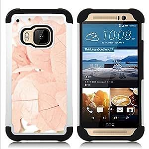 """Pulsar ( Otoño Primavera Flores Hojas Rosa"""" ) HTC One M9 /M9s / One Hima híbrida Heavy Duty Impact pesado deber de protección a los choques caso Carcasa de parachoques [Ne"""