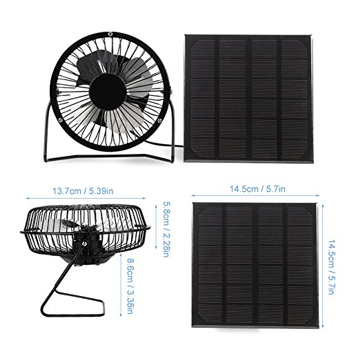 Yosooo 3W USB Solar Panel Powered Mini Portable Fan for Cooling Ventilation Outdoor Home Travelling Chicken House Car Ventilation System 4 Inch by Yosooo (Image #3)