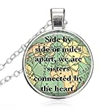 SunShine Day Silver Necklace,Women/Mens Chain Necklace with Pendant Sister Map Travel World Map Deasign Chain Necklace Set