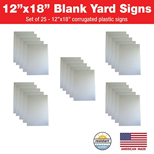 Visibility Signage Experts 25 Blank Corrugated Plastic 4mm 12x18 Sheets, Great for Garage Sales, Parties, Businesses, Clinics, Real Estate, Construction, Political, Graduations & More! (25)