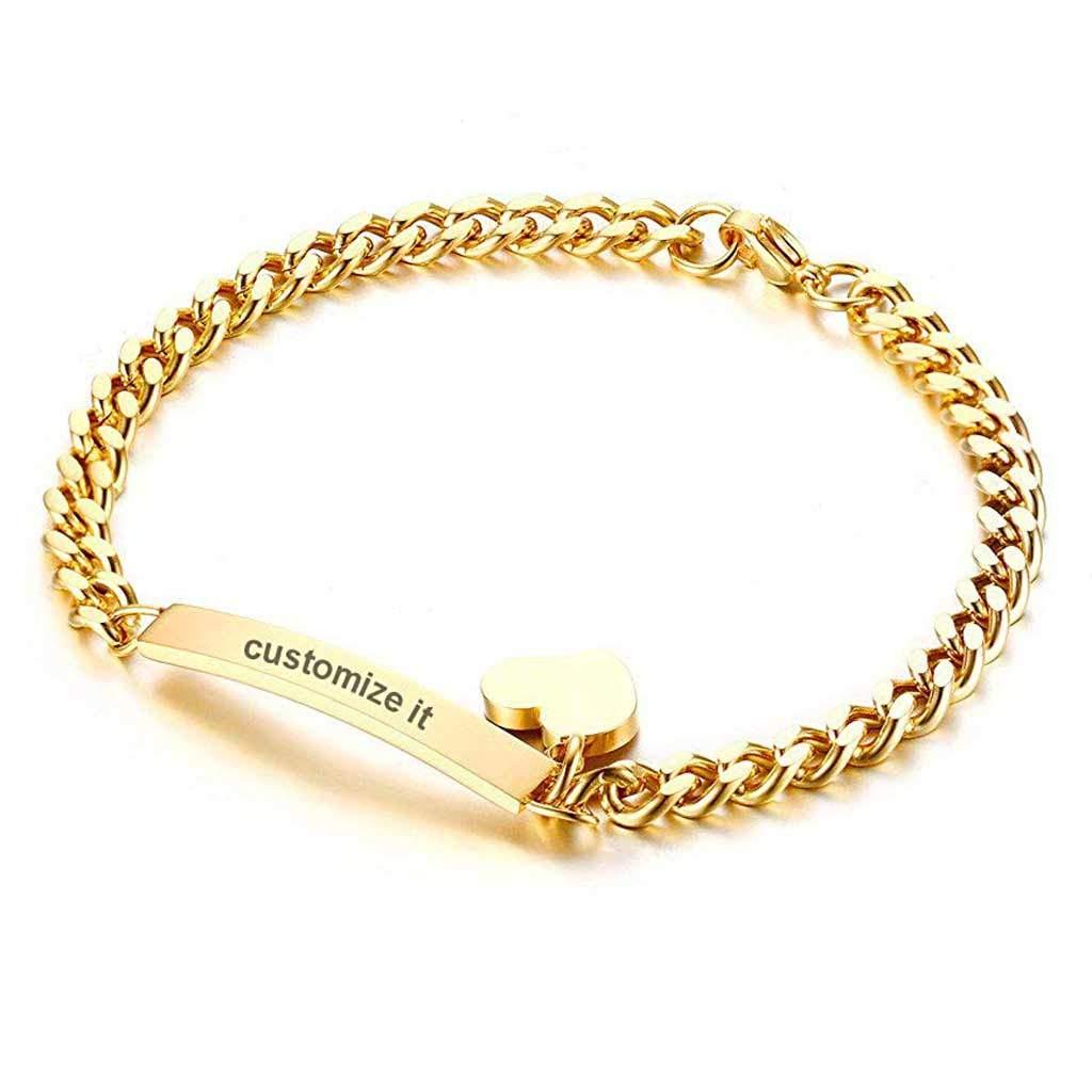 ZHUOZE Personalized 925 Sterling Silver Link Bracelet Free Engraved Customized Message Bracelet Bangle Gift for Women