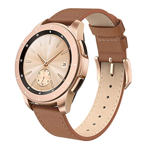 SWEES Leather Band Compatible for Galaxy Watch 42mm, 20mm Genuine Leather Bands Wristband Strap with Quick Release for Samsung Galaxy Smartwatch 42mm Women Gear S2 Classic & Gear Sport, Cinnamon Brown