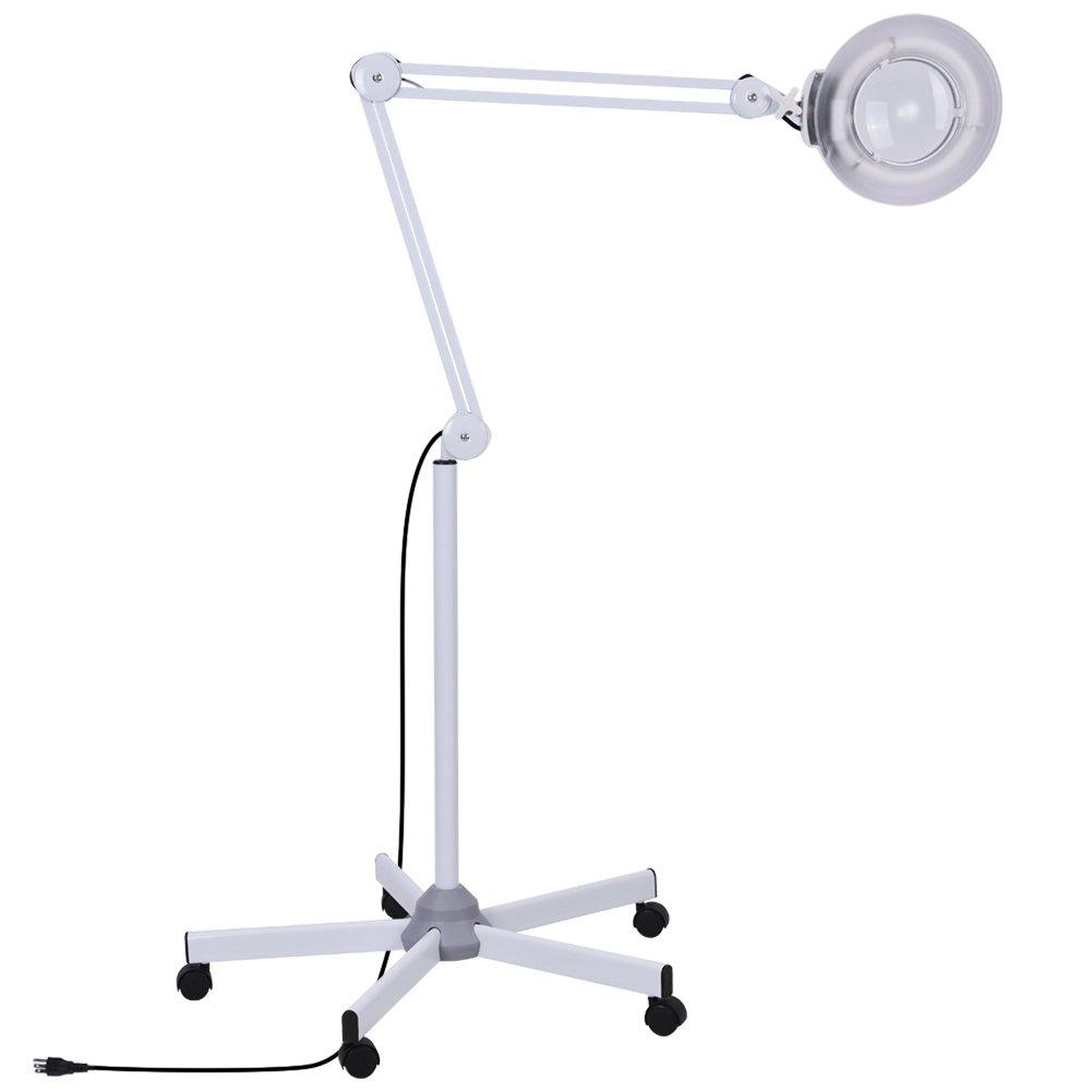 拡大鏡LEDライト5倍/ 8倍拡大鏡フロアLEDランプローリングフロアスタンド美容マニキュアタトゥースキンケア機器ブラックホワイト(ホワイト)   B07BTNCBR7