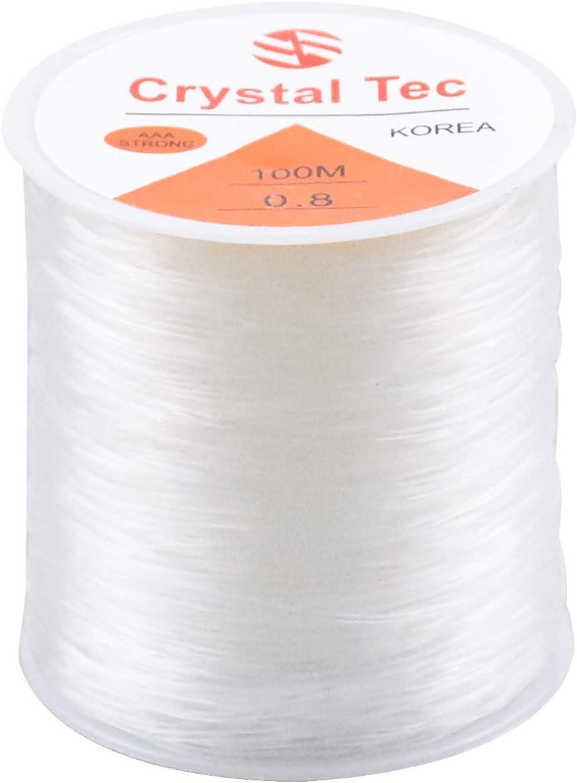 Kissral - Cordón elástico, 0,8 mm, transparente, 100 m, para elaboración de joyas, pulseras, hilos de perlas