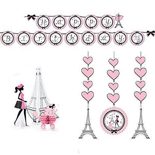 Party in Paris Party Decorations Supply Pack - Hanging Cutouts, Banner, and Centerpiece -