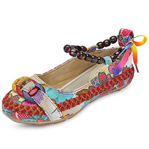 KCatsy Trendy Round Toe Ankle Strap Tied Beads Floral Print Flat Heel Women Shoes Off-White