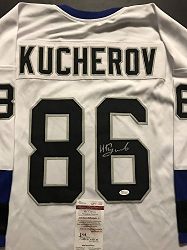 Autographed/Signed Nikita Kucherov Tampa Bay Lightning White Hockey Jersey JSA COA