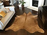 Leather Rugs 6ft x 7ft Medium Brown Cowhide Rug  Cowhide Area Rugs by Crown Home Innovation  100% Natural Leather Rugs