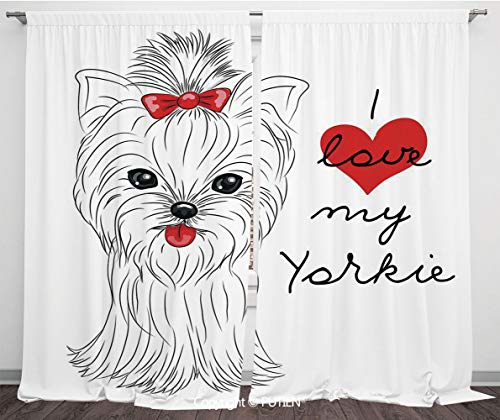Satin Window Drapes Curtains [ Yorkie,I Love My Yorkie Cute Terrier with its Tounge Out Adorable Yorkshire Terrier,Black White Red ] Window Curtain Window Drapes for Living Room Bedroom Dorm Room Clas