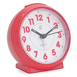 JCC Macaron Color Glossy Small Round Handheld Size Non Ticking Quartz Bedside Desk Clock Travel Alarm Clock with Light Night, Snooze Function - Battery Operated (Shining - Hot Pink)