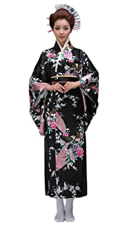 Soojun Women\u0027s Traditional Japanese Kimono Style Robe Yukata Costumes 1  Black