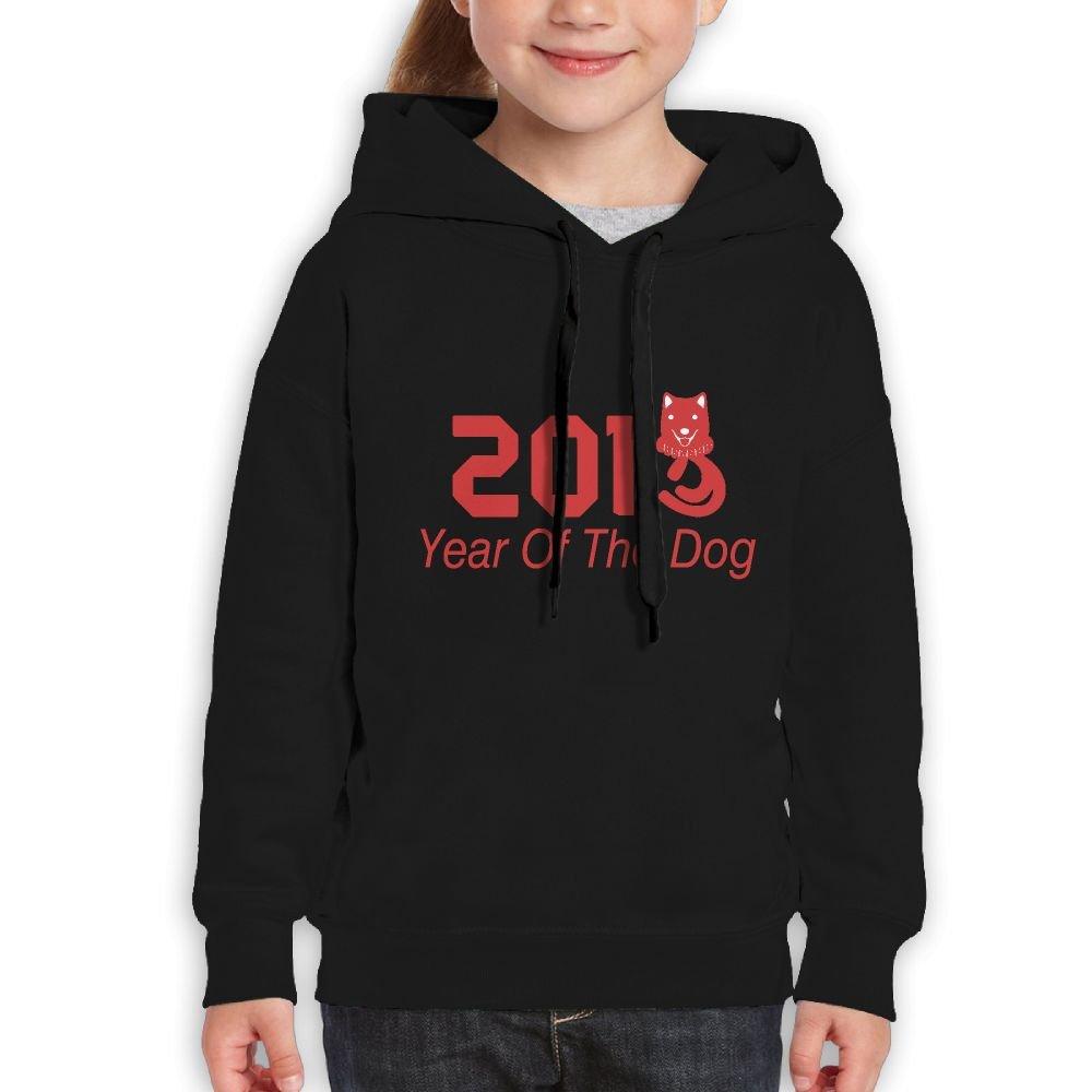 2018 Year Of The Dog Gift Girls Boys Teens Cotton Long Sleeve Cute Sweatshirt Hoodie Unisex