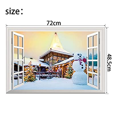 D-XinXin Christmas Snow Landscape 3D Self-adhesive Removable Break Through the Wall Vinyl Wall Sticker/Mural Art Decals Decorator