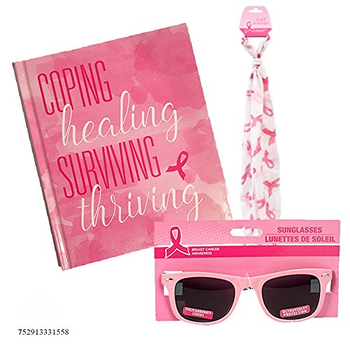 3-pc Breast Cancer gift for Easter with PINK RIBBON sunglasses, inspirational book and fashion scarf. The PERFECT GIFT for a FAMILY MEMBER of - Cancer Sunglasses