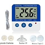Digital Refrigerator Freezer Thermometer with Alarm High & Low Temperature Alarms Settings with LED Indicator Fridge Thermometer with Magnet and Stand 1 pack Nithing
