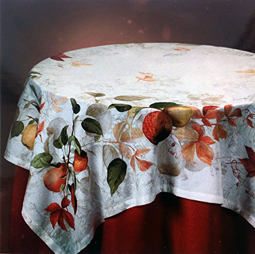 Firenze Italy Fabric Tablecloth Floral Pattern with Fruits Pears Red Orange Green on Cream White 67 Inches x 108 Inches Cream Floral Fruit