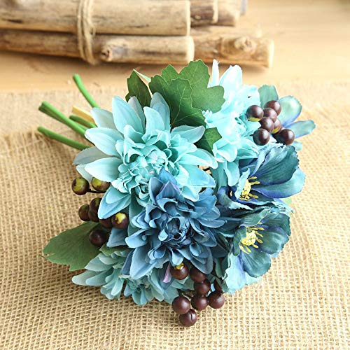 Chocolate Silk Shade Table Lamp - Gotian 1 Bouquet Artificial Silk Fake Flowers Leaf Rose Floral Wedding Party Home Decor (Blue)