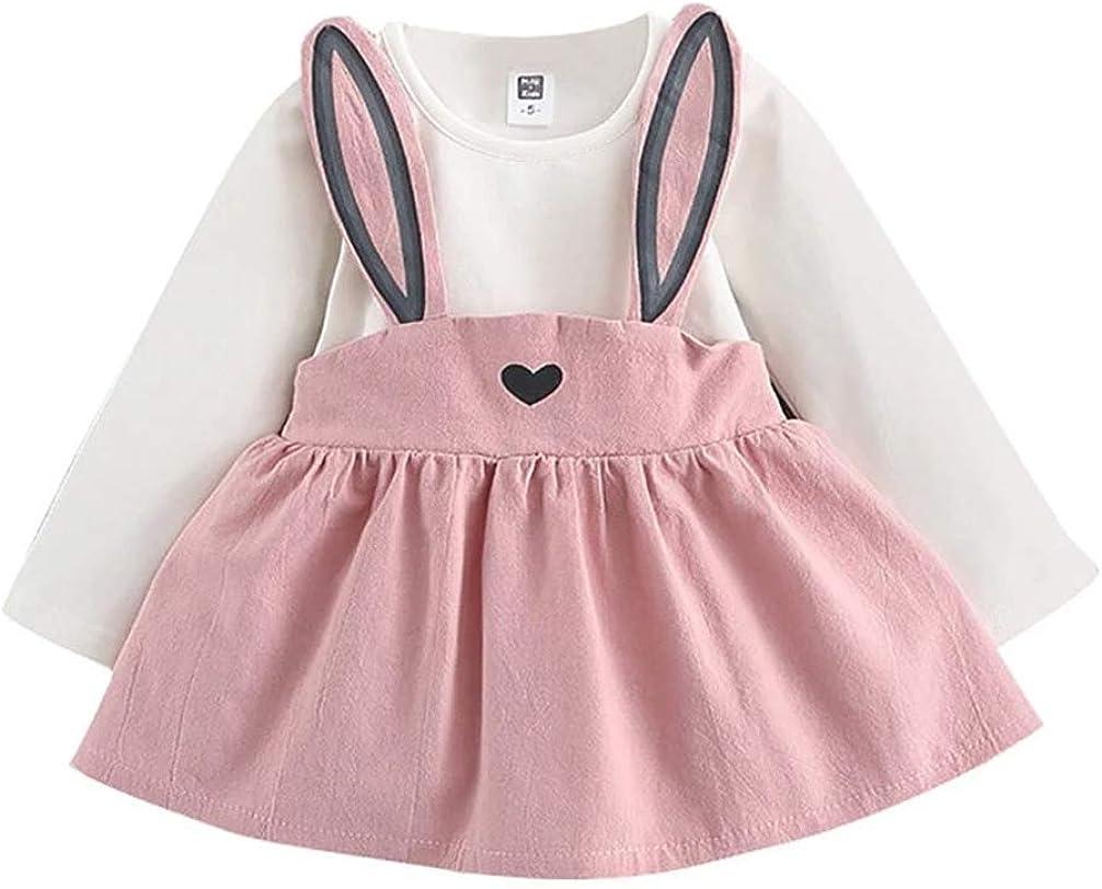 0-3 Years Toddler Baby Girls Autumn Mini Princess Dresses,Cute Heart-Shaped Rabbit Bandage Overalls Suit Dress