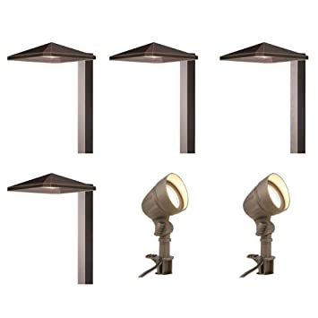 Amazon low voltage integrated led bronze outdoor light kit 6 low voltage integrated led bronze outdoor light kit 6 pack workwithnaturefo