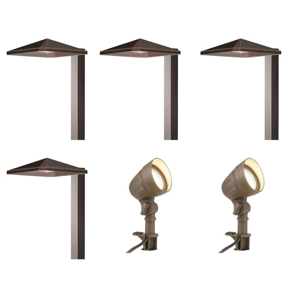 Low-Voltage Integrated LED Bronze Outdoor Light Kit (6-Pack)