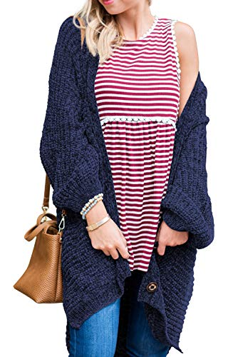 1d84e3176b464c Sidefeel Women Button Down Sweater Coat Casual Open Front Oversized Cardigan  Outwear