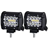 LED Pods, Liteway 2pcs 140W Triple Row LED Light Bar 4 inch Spot Flood Combo Beam CREE LED Driving Lights Off Road Lighting LED Work Lights for Truck Car ATV Boat SUV, 2 Years Warranty