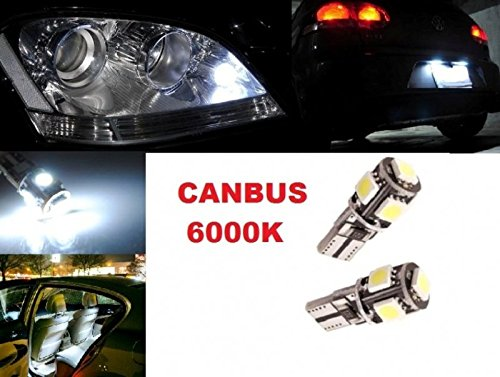inion® t10x 5Power SMD LED luci della targa di immatricolazione & Illuminazione Interni Canbus Xenon Bianco freddo bianco 12V Auto Lampade soffiten