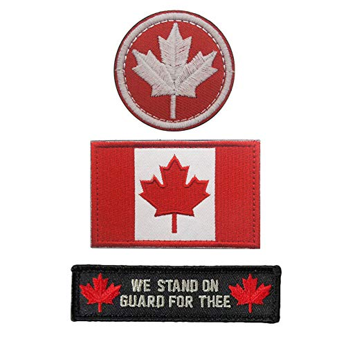 SOUTHYU 3 Pieces Canada Flag Canadian Province Tactical Morale Patches Military Emblem Embroidered Badge Applique Hook and Loop Patch (Canada Flag Velcro)