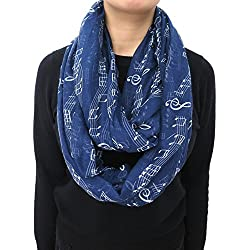 Nexxgen Fashion Infinity Scarfs for Women 50 Styles Animal Print American Flag (Music Notes- Navy Blue)