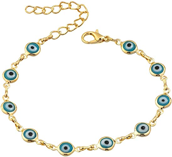 14K Yellow Gold Evil Eye Good Luck Blue Color 4mm Crystal Bracelet chain 6/""